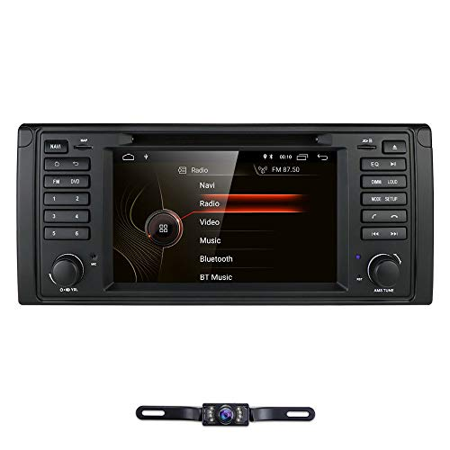 hizpo 1 Din 7 Inch Android 10 Car Stereo Radio DVD Player Fit for BMW 5 Series E39 BMW X5 E53 BMW M5 Car Navigation Bluetooth GPS 4G WiFi OBD2 DTV TPMS 1080P + Rearview Camera