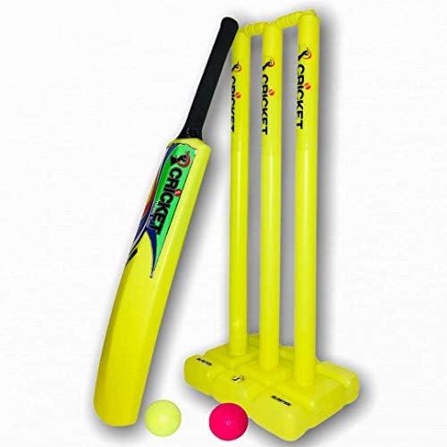 Cricket Plastic Set for Kids Adult Neon Lime Bat Ball Stumps Bails Bag Size 6 product image