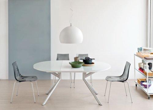 OG Ausziehbarer Tisch, Glas, Weiß