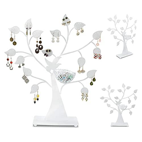 Recet Soporte para joyas en forma de árbol, de metal, decorativo, con hojas y anillos, color blanco