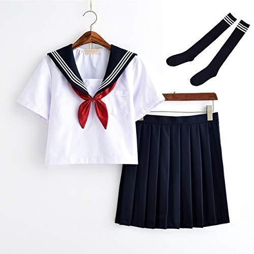 CLJ-LJ - Uniforme da studentessa bianca, classe giapponese, marinaio, divise scolastiche, per studenti, abbigliamento per ragazze, anime, cos, marinaio, colore blu navy