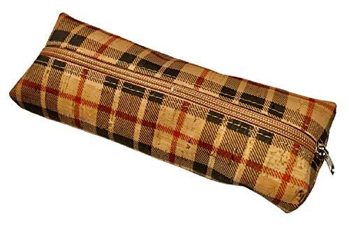 Grote Kurk potloden etui, school pencil case, Make-up etui, kurk schoolgeval (Zwart rood)