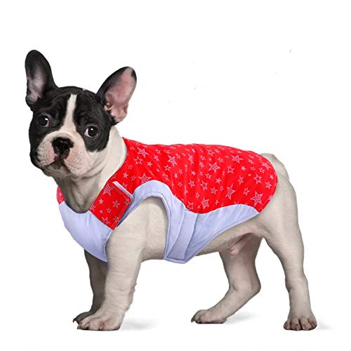 Reversible French Bulldog Dog Cold Weather Coat,Waterproof Windproof Reflective Winter Pet Jacket with Stars,Safety Lightweight Warm Puppy Vest Lightweight Outdoor Apparel for Small Medium Large Dogs