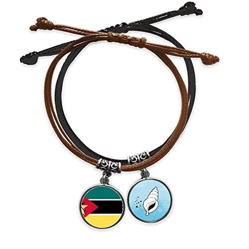 DIYthinker - Pulsera mozambiquenational africano del pabellón con cuerda de mano y pulsera de cuero cono