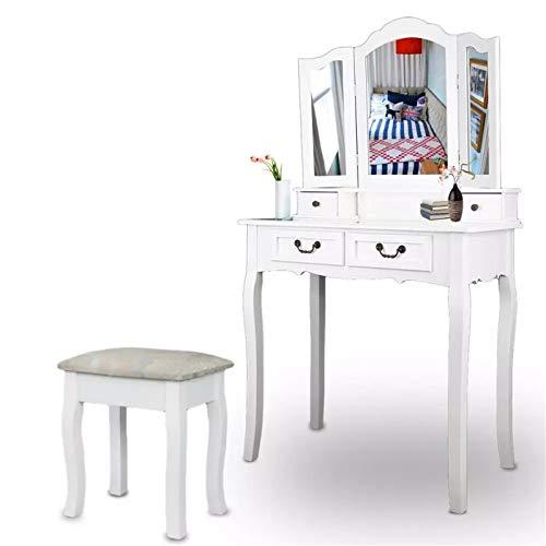 Lwieui Tocador Mesa de tocador 4 Taburete de cajones Mesa de Maquillaje de Dormitorio Blanco Dressing Muebles Vanidad (Color : White, Size : 80x40x137cm)