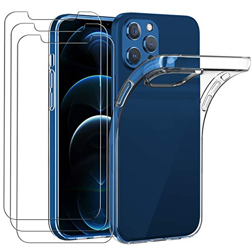 iVoler Custodia Cover Compatibile con iPhone 12 PRO Max 6.7 Pollici con 3 Pezzi di Vetro Temperato Incluso, Cover Protettiva Antiurto Morbida e in Silicone, Trasparente