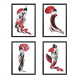 Póster Juego de 4 piezas Geisha japonés, cuadros para decoración, papel perlado, impresiones de arte – Tamaño A4 21 x 29,7 cm