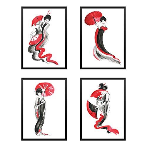 Póster Juego de 4 piezas Geisha japonés, cuadros para decoración, papel perlado,...