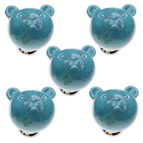 FBSHOP(TM) 38mm 5pcs Blau Schöne Karikatur Keramik-Türknauf Türknopf Möbelgriffe für Schränke, Schubladen, Truhen, Schränke, Küche, Schlafzimmer, Badezimmer