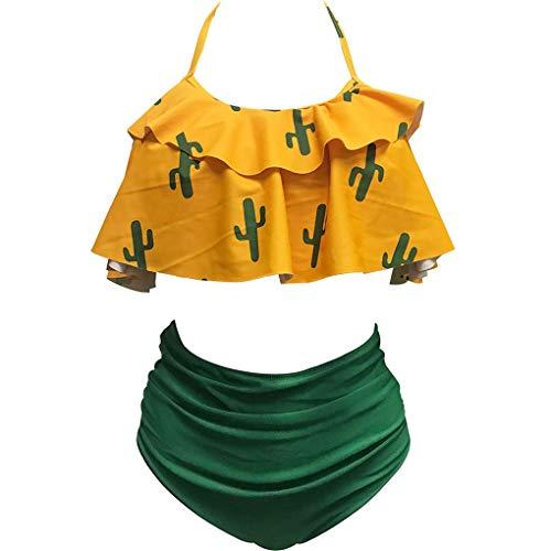 Level Frauen mit hohen Taille Zu Sexy Einstellbarer Riemen-Bikini-Dame-Kaktus Muster Bademode II BH Panty