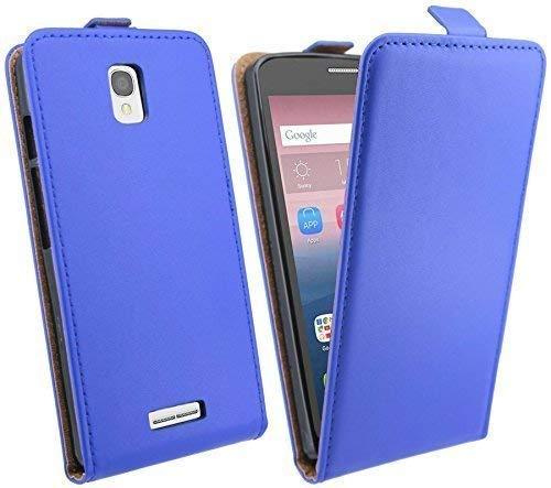 ENERGMiX Klapptasche Schutztasche kompatibel mit Alcatel One Touch POP Star (5070D) in Blau Tasche Hülle