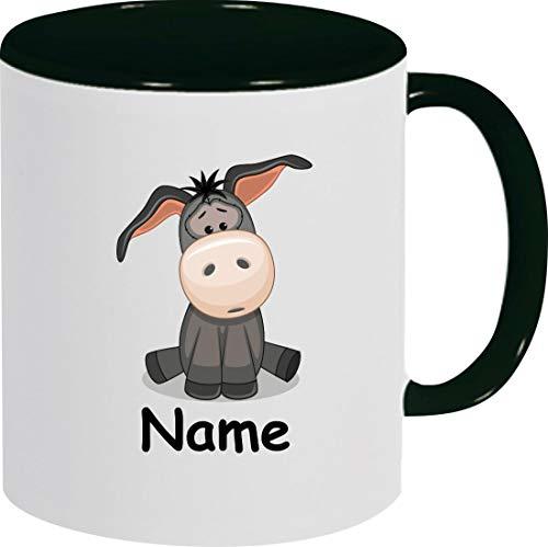 Shirtinstyle Kindertasse, Teetasse, Tasse, Esel mit Wunschnamen, Wunschtext, Spruch, Kinder, Tiere, Natur, Kaffeetasse, Pott, Becher, Farbe schwarz