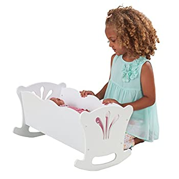 KidKraft KidKraft Wooden White Lil  Doll Rocking Cradle with Pink Butterfly Pad Blanket and Pillow for 18-Inch Baby Dolls ,Gift for Ages 3+