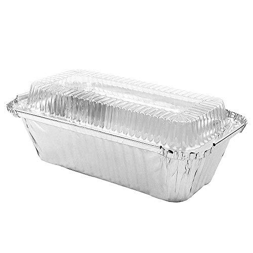 50 Pack 1 LB Disposable Aluminum Foil Mini Loaf Pans, Baking Pans with 50 Lids