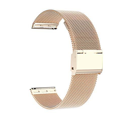 Correa de reloj de 16 mm, 18 mm, 20 mm, 22 mm, repuesto de malla de acero inoxidable, cierre rápido, tornillo de metal, para reloj inteligente para hombres y mujeres (oro rosa)