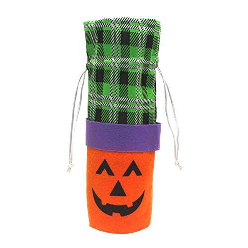 Greatangle-UK Adorno de atmósfera de Halloween Restaurante Bodega Cubierta de Botella de Vino Cubierta de Vino Tinto Novedad Decoración Calabaza