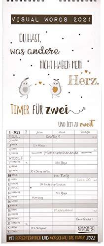 Visual Words Timer für 2 2021: Familienplaner mit 3 breiten Spalten. Typo-Art Familienkalender mit Ferienterminen, Vorschau bis März 2022 und vielem mehr.