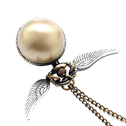 KX-YF Reloj De Bolsillo Alas De Oro Snitch Cuarzo Reloj De Bolsillo Collar De Bolsillo Quidditch Reloj De Bolsillo para Hombres Mujeres Adecuado para Regalos Y Recuerdos.