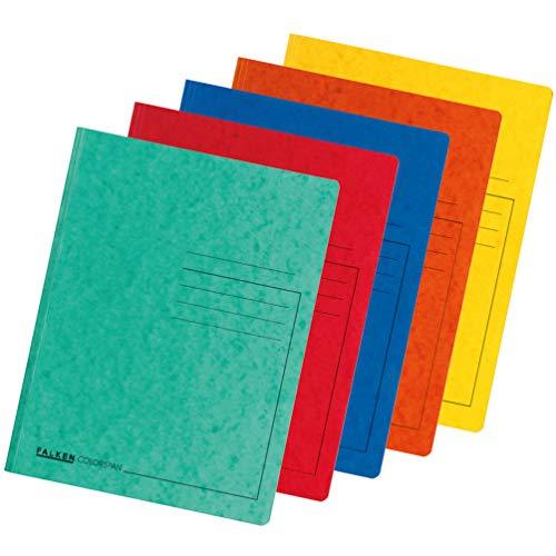 Original Falken 10er Pack Premium Einschlagmappe. Made in Germany. Aus extra starkem Colorspan-Karton mit 3 Innenklappen DIN A4 farbig sortiert Sammelmappe Dokumentenmappe für Büro und Schule
