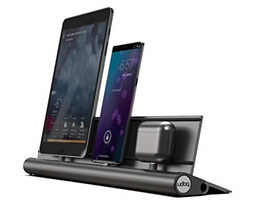 udoq 400 Ladestation für mehrere Geräte, hochwertiges Design 4mm Aluminium, für Handy Tablet eReader Powerbank, dunkelgrau