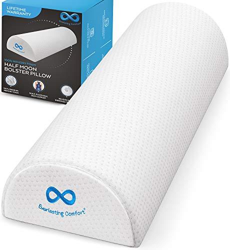 Everlasting Comfort Bolster Pillow for Legs - Pure Memory Foam Half Moon Pillow - Soft Breathable Cover (White)