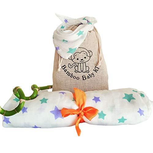 Set Swaddle Bambus-Kuscheldecke, Dreieckstuch und praktisches Jutesäckchen. Geschenkidee für Neugeborene Jungen & Mädchen – Atmungsaktives Pucktuch 120x120cm und weiches saugfähiges Bandana-Lätzchen