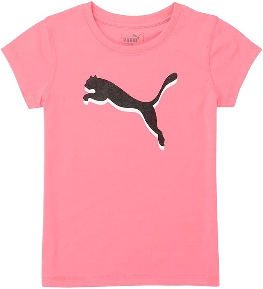PUMA Toddler Girls Cotton Jersey Screen-Printed T-Shirt Top Crew Neck - Pink