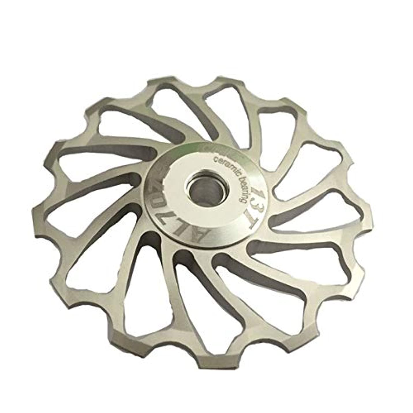 失望させる警察署矢印Propenary - Cycling bike ceramics Jockey Wheel Rear Derailleur Pulley 13T 7075 Aluminum alloy bicycle guide pulley bearing bicycle parts [ Silver ]