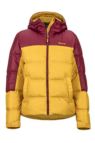 Marmot Damen Wm's Guides Down Hoody Ultra-leichte Daunenjacke, 700 Fill-Power, Warme Outdoorjacke, Wasserabweisend, Winddicht, Yellow Gold/Claret, M