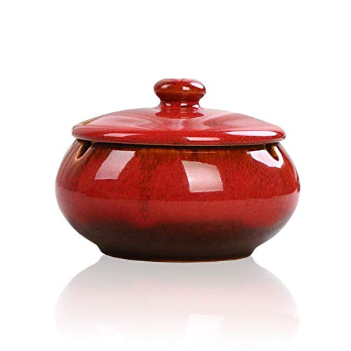 Lependor Ceramic Ashtray with Lids, Windproof, Cigarette Ashtray for Indoor or Outdoor...