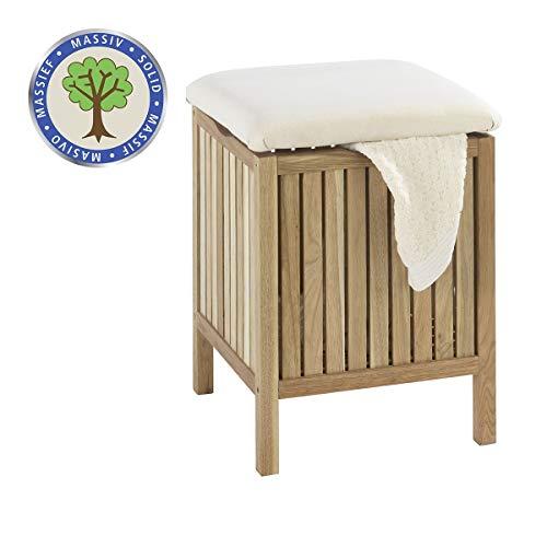 WENKO Badhocker Norway mit Wäschesammler, aufklappbare Sitzfläche als Deckel, Walnussholz, Fassungsvermögen 65 L, 39 x 52 x 39 cm, natur
