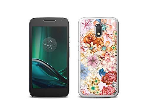 etuo Handyhülle für Lenovo Moto G4 Play - Hülle, Silikon, Gummi Schutzhülle - Blumenstrauß