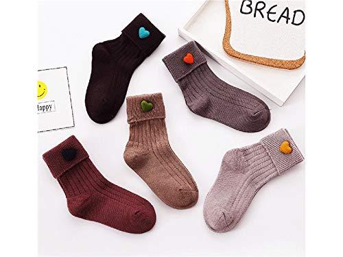 Bébé Cadeau doux 5 paires enfants Chaussettes de coton enfants Automne et Hiver Mid Chaussettes de tube (Multicolor)