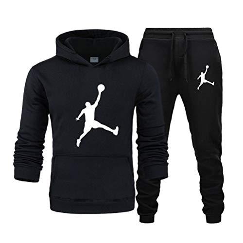 ATHIHOOD Unisex Sportanzug Trainingsanzug Herren Damen Langarm Hoodie Tracksuit Kapuzenpullover + Sporthose Fitness Jogger Basketball (Schwarz,L)