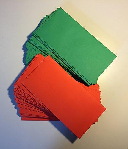 100 Briefumschläge, Rot und Grün, DIN lang = 220 x 110 mm, Haftklebestreifen, Kuverts zu Weihnachten, Weihnachtsumschläge