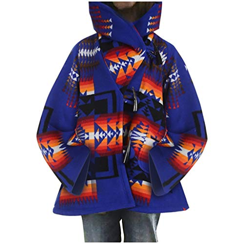 777 Womens Retro Claw Button Coats Casual National Print Long Sleeve Thick Hooded Jacket Blue