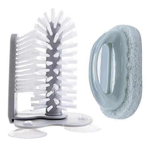 2 Piezas Cepillo para Vidrio de Pie Cepillo de Limpieza para Lavado de Ollas Cepillos Multiusos Cepillos de Botellas Cepillo de Cerdas con Base de Succión para Artículos de Limpieza de Baño de Cocina