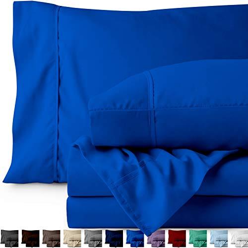 Bare Home Split King Sheet Set - 1800 Ultra-Soft Microfiber Bed Sheets - Double Brushed Breathable Bedding - Hypoallergenic – Wrinkle Resistant - Deep Pocket (Split King, Medium Blue)