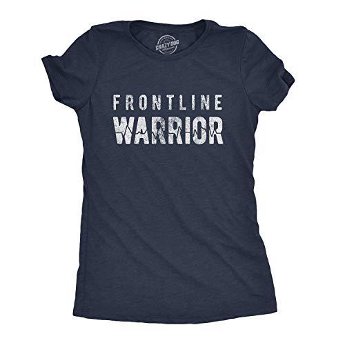 Womens Frontline Warrior Tshirt Funny Nurse Doctor Quarantine Social Distancing Tee (Heather Navy) - S