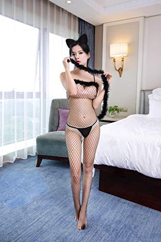 Nachtwäsche & Bademäntel für Damen Baby Dolls & Negligees für Damen Nachtclub sexy Dessous Versuchung Catwoman Uniform Anzug Netz Kleidung sexy einteilig-schwarz mit Höschen _ Einheitsgröße