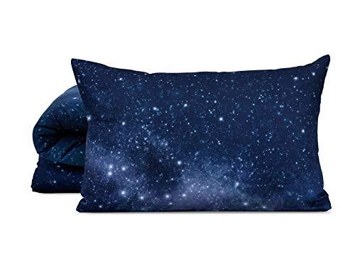 FOONKA HAYKA Nordhimmel, 1-TLG. Baumwollsatin Bettwäsche – 135x200 cm (80x80 cm), Cotton, Nachthimmel, Marineblau, Schwarz, 2