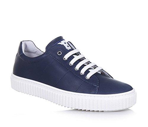 CIAO BIMBI - Blauer Schuh mit Schnürsenkeln aus Leder, auf der Zunge ein Logo, sichtbare Nähte, Jungen-38