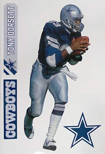 Tony Dorsett FATHEAD Graphic + Cowboys Logo Set Official NFL Vinyl Wall Graphics 17' INCH