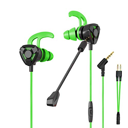 CLAW G9 Gaming Earphones with Dual Microphone (Detachable Boom Mic + in-Line Mic with Controls), 3D Stereo Sound, Dual Flange...