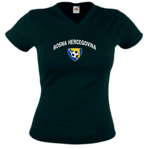 World-of-Shirt Bosna Herzegovina Damen T-Shirt Team Flag Trikot|XS
