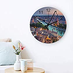 MuswannaA Round Wooden Wall Clock 12 Inch City Building River Modern Scenery Non Ticking Battery Operated Quartz Quiet Clock for Home,Office,School,Kitchen