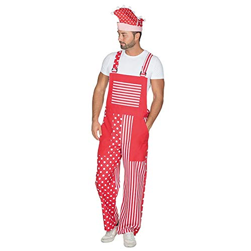 PARTY DISCOUNT® Herren-Kostüm Latzhose Rot-Weiß, Gr. XL-XXL