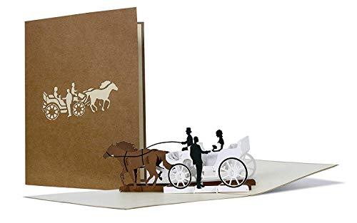 Schöne Karte zur Hochzeit aus Kraftpapier, Paar in Hochzeitskutsche, Karte für Verliebte, Hochzeitskarte, Hochzeitskarten, Einladungskarte, edel, elegant, hochwertig, Just married, L18