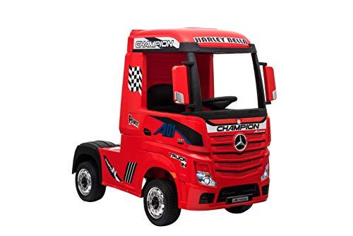 "Kinderfahrzeug - Elektro Auto \""Mercedes Actros\"" - lizenziert - 2x 12V7AH, 4 Motoren- 2,4Ghz Fernsteuerung, MP3, Ledersitz+EVA-Rot"