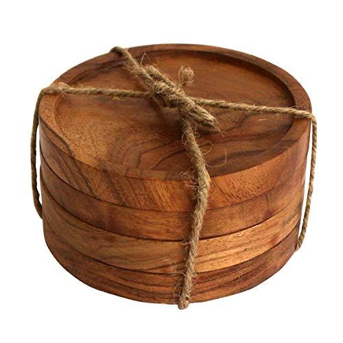 Kaizen Casa Posavasos de madera para bebidas, juego de posavasos de madera de acacia natural para vasos de bebida, protección de mesa para cualquier tipo de mesa, juego de 4